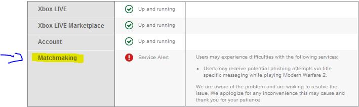 Xbox's Service Alert