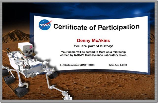 McAkins on Mars - certificate_left