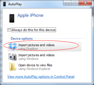 Importing Pictures and Videos to Dropbox