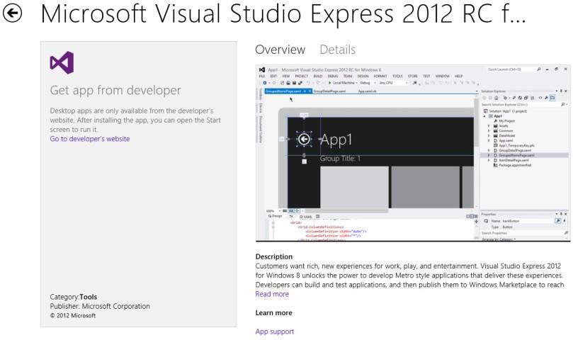 VS2012 Express Desktop App