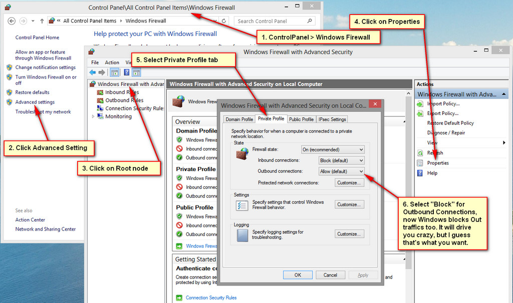 Windows Outbound Firewall Settings