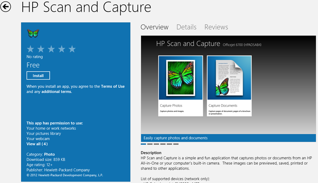 Windows 8 app - hp scan and capture download