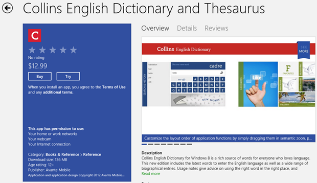 Collins English Dictionary and Thesaurus App drops with a