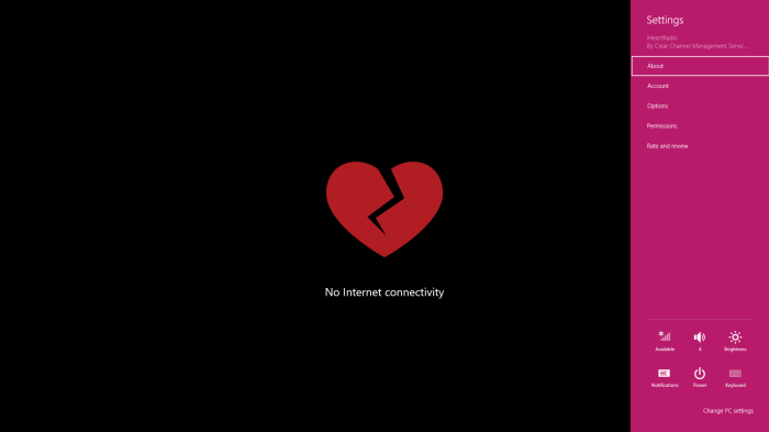 iHeart lost Internet connection
