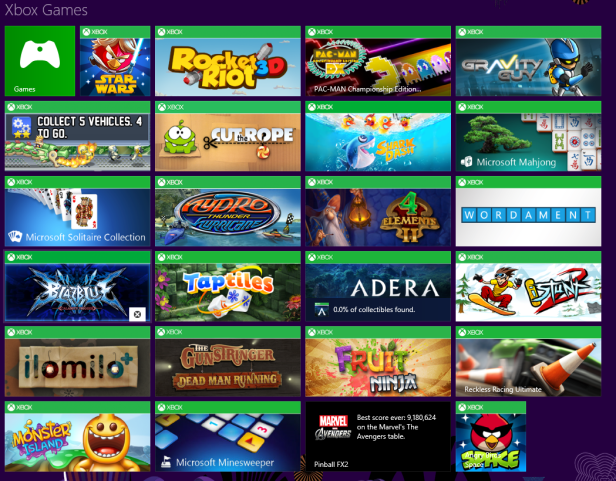 Xbox Games on tiles