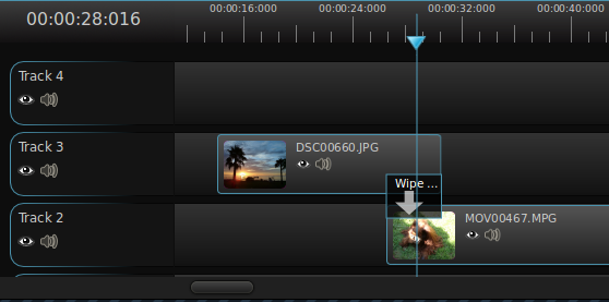 The OpenShot timeline, showing the ability to layer videos
