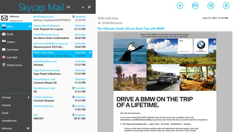Mail, Calendar and People app