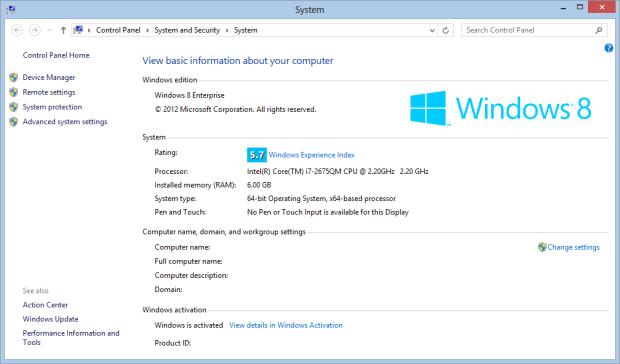 Windows 8 Experience Index