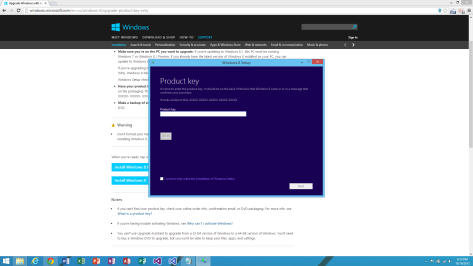 Enter Windows 8 product key