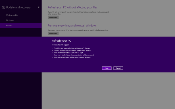 Refresh or Reset Windows 8.1