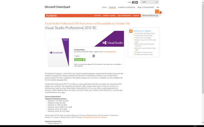 Visual Studio 2013 Dreamspark Release Date