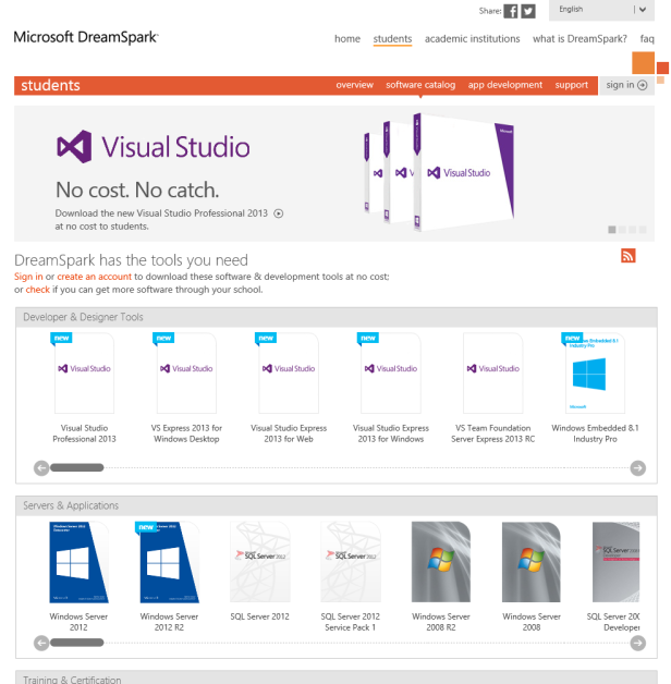 Accuring  and Activating VS 2013 through Dreamspark (1)
