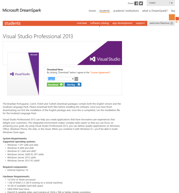 Accuring  and Activating VS 2013 through Dreamspark (2)