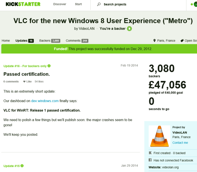 VLC Passed Windows Store Cert