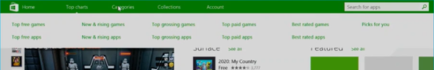 Mouse-friendly menu bar, showing top charts