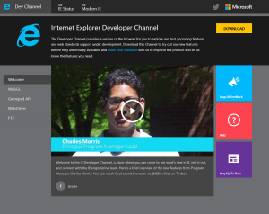 IE Dev Channel Home Page