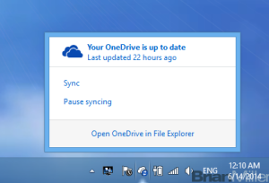 Clicking on the OneDrive Icon on the system tray brings up sync status and action items.