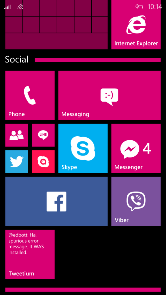 Windows 10 for Phone Start Screen