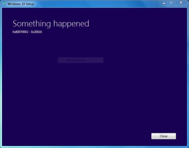 Windows 10 Setup Error