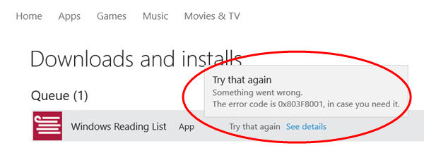 Unhelpful app install error message on the Windows Store